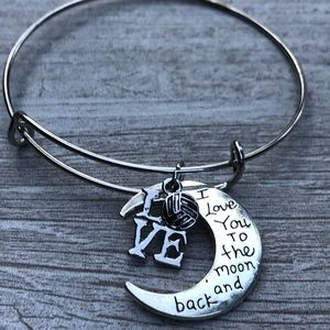 Football Love You to the Moon and Back  Bracelet